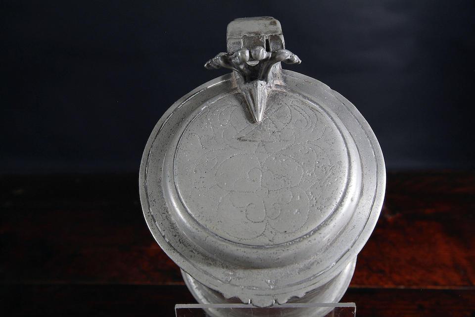 A Charles II wrigglework flat lid tankard, circa 1680