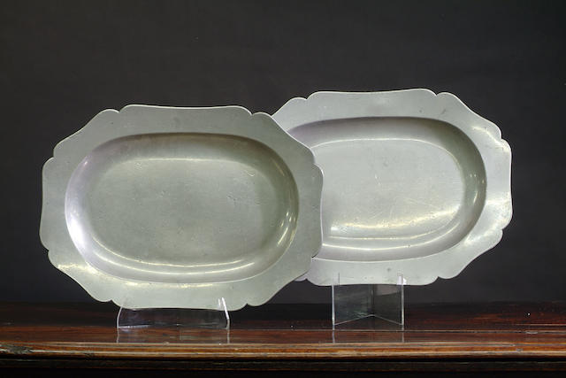 A pair of 18th Century European wavy edge oval dishes