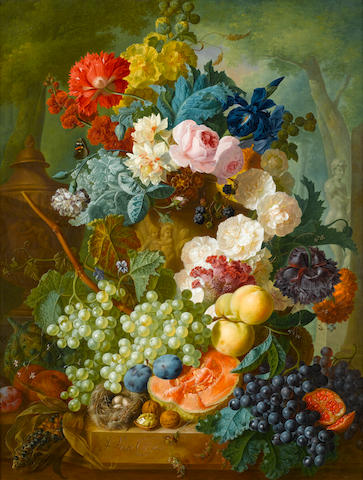 Jan van Os (Dutch, 1744-1808) Still life of fruit and flowers