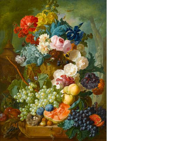 Jan van Os (Dutch, 1744-1808) Still life of fruit and flowers
