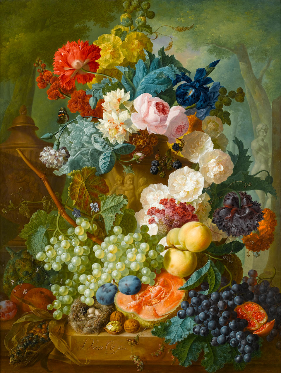 Jan van Os (Middelharnis 1744-1808 The Hague) Roses, irises, carnations and other flowers