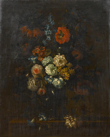 Attributed to Antoine Monnoyer (Paris 1670-1747 Saint-Germain-en-Laye) Roses, chrysanthemums, convolvulus,
