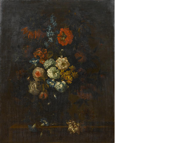 Circle of Jean-Baptiste Monnoyer (Lille 1636-1699 London) Roses, chrysanthemums, morning glory,