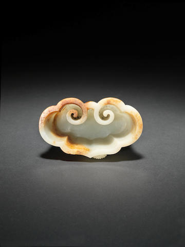 A white and russet jade linghzhi fungus brushwasher 18th century