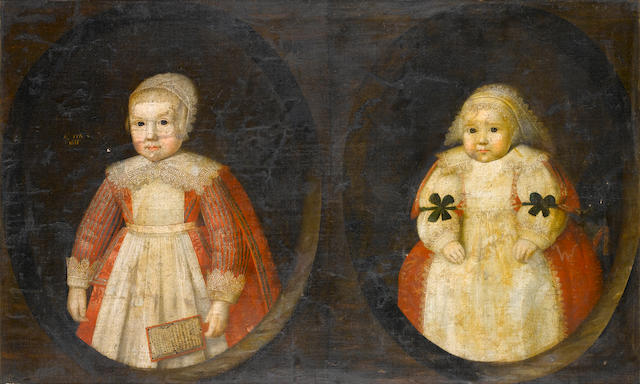 English School, 1633  Portrait of two young children of the Courtenay family,