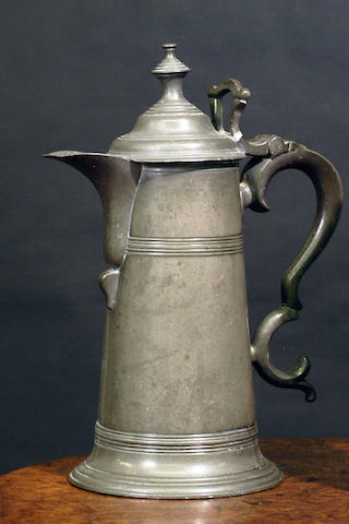 A spouted spire flagon, circa 1800