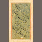 Five album pages of calligraphic specimens in nasta'liq and naskhi scripts signed by Hamdullah, 'Abd