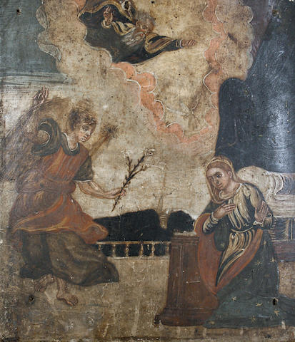 Veneto-Cretan school, 18th Century God and a saint appearing before the Virgin Mary