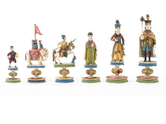 "A Chinese Export ivory ""King George"" chess set, Canton, circa 1820,"