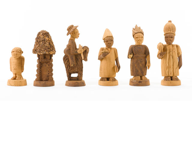 "An African ""Tribal"" thornwood chess set Nigeria, circa 1960,"