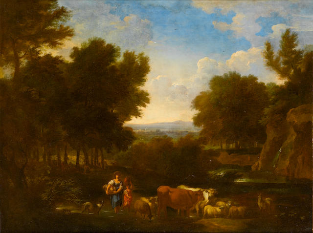 Circle of Carlo Antonio Tavella (Milano 1668-1738 Genoa) A wooded landscape with resting peasants; (