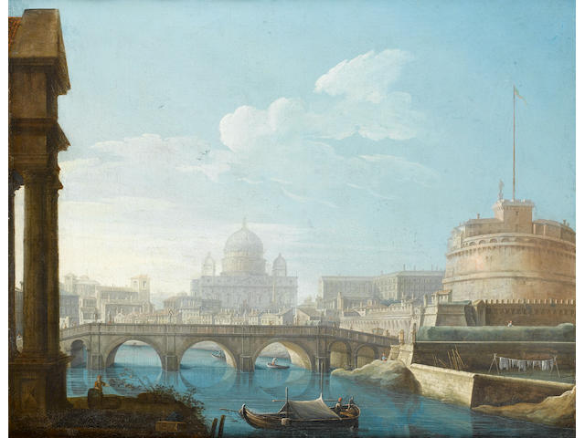 Circle of Giovanni Battista Busiri (Rome 1698-1757) The Tiber with the Castel Sant'Angelo and Saint Peter's beyond