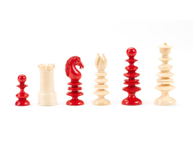 An ivory chess set, England, circa 1860,