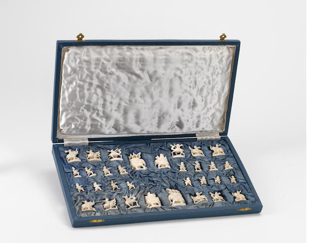 An Indian figural ivory chess set, Rajhasthan, circa 1950,