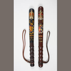 Two General Strike commemorative wooden truncheons, Bradford and Ipswich 2