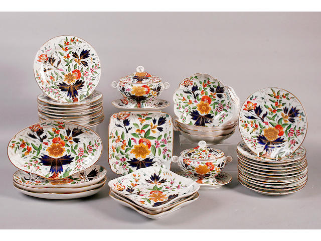 A Staffordshire Imari dinner / dessert service early 19th century