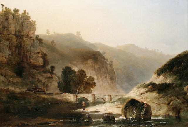 Henry Dawson (British, 1811-1878) A river landscape with an angler in the foreground