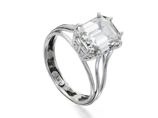 An octagonal-cut diamond single-stone ring