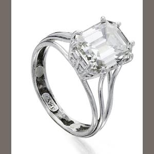 An octagonal-cut diamond single-stone ring