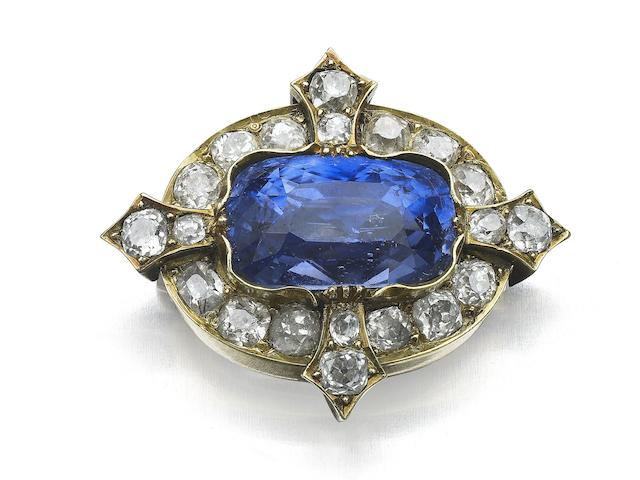A Victorian sapphire and diamond brooch,