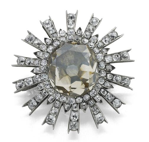 An early 19th century diamond cluster brooch