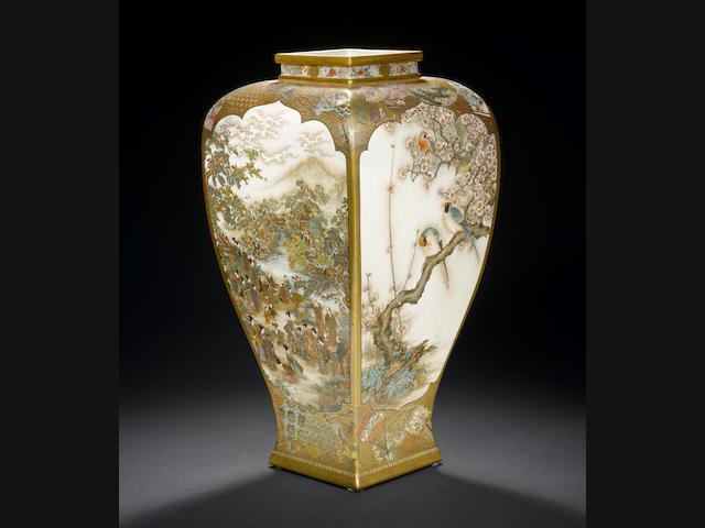 A large impressive Satsuma vase By Ryozan, Meiji Period