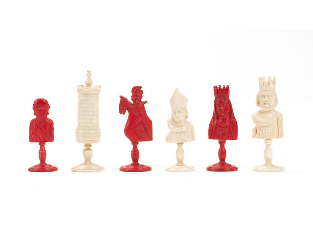 A bone bust chess set, Dieppe, France, circa 1810,