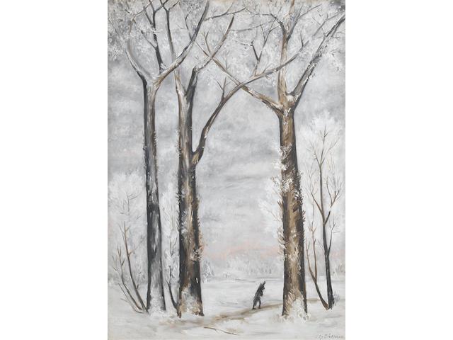 Natalia Sergeevna Goncharova (Russian, 1881-1962) Winter: the wood gatherer