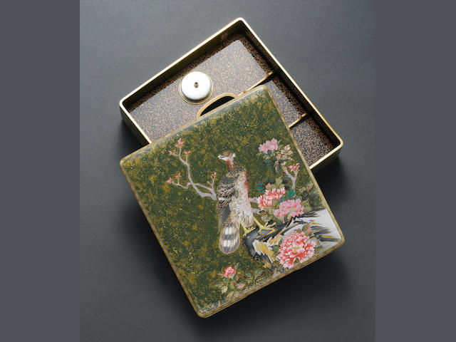 An extremely rare and fine cloisonné enamel writing implement box and cover (suzuribako) By Hayashi Tanigoro, Nagoya, late Meiji/Taisho Period
