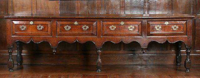 An impressive George I oak dresser base, Montgomeryshire, circa 1720