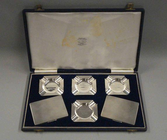A cased set of silver awards presented to Jackie Stewart, Silverstone, May 15 1965,