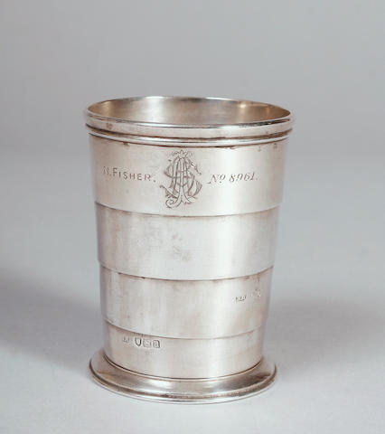 A late Victorian silver four section collapsible cup 1899