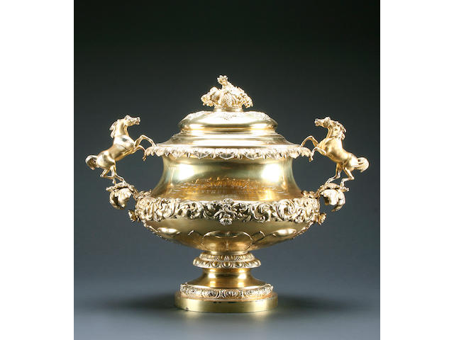 THE LIVERPOOL TRADE CUP, AINTREE MEETING 1833: A George IV silver gilt two handled cup and cover by Rebecca Emes & Edward Barnard, London 1825