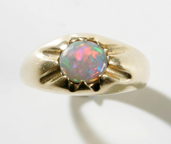 A gentleman's black opal ring