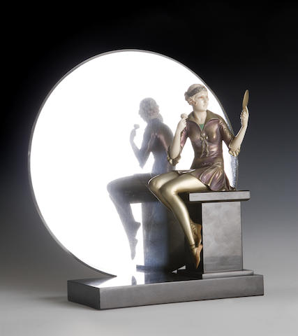 Johann Philipp Ferdinand (Fritz) Preiss (German, 1882-1943) 'Powder Puff' A cold painted bronze and ivory figure by Ferdinand Preiss