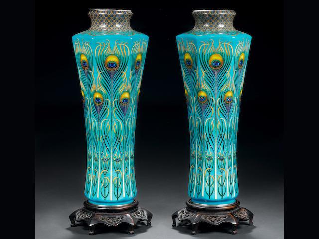 A pair of cloisonné enamel vases By Hayashi Tanigoro, late Meiji Period