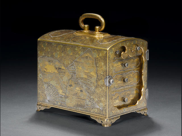 An inlaid iron kodansu By Okuno, Kyoto, Meiji Period