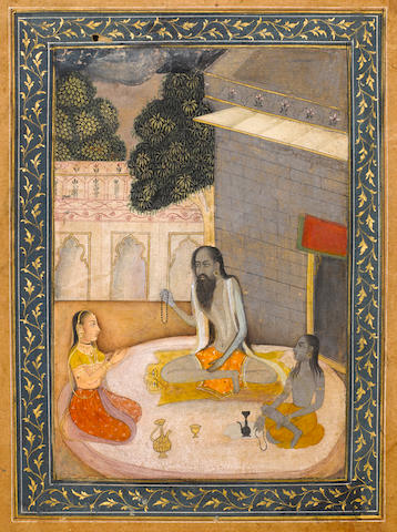 Kedar ragini [?]: a lady visiting an ascetic at a shrine, a devotee seated alongside Provincial Mugh
