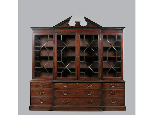 A George III mahogany breakfront library bookcase circa 1770