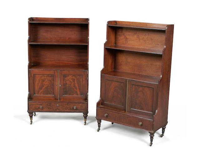 A good pair of Regency mahogany dwarf waterfall bookcases circa 1810
