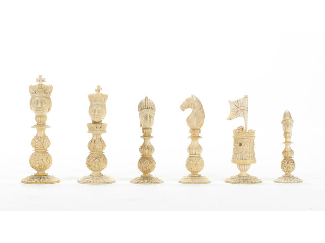 "A Chinese Export ivory ""bust"" chess set, Macao, circa 1810,"