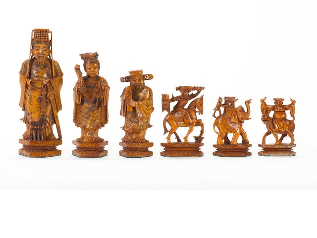 A Chinese ivory figural chess set of large size, Hong Kong, circa 1960,