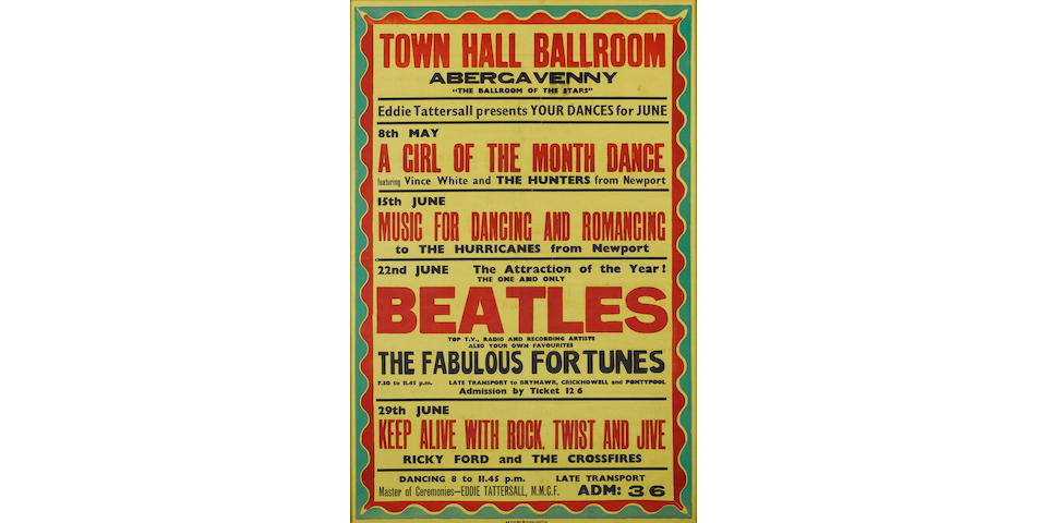 A concert poster for the Beatles at the Town Hall Ballroom, Abergavenny, Saturday, 22nd June 1963