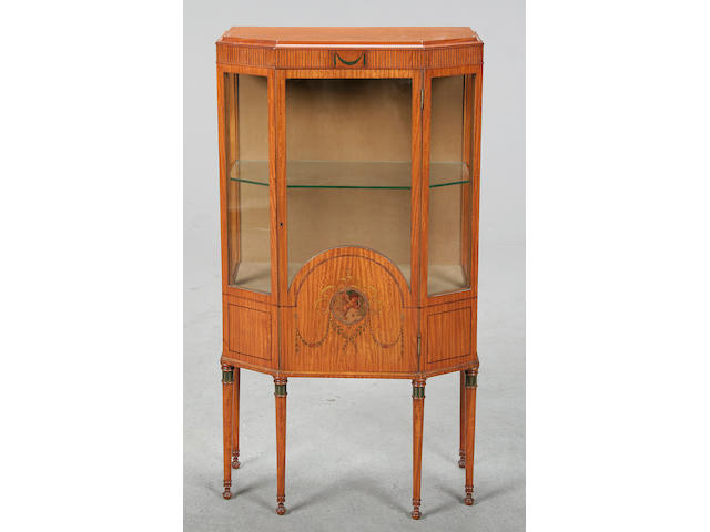 An early 20th Century satinwood display cabinet, circa 1930