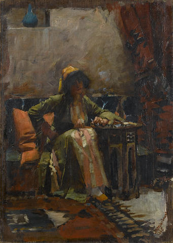 John William Waterhouse, RA, RI (British, 1849-1917) An Eastern interior with a seated girl