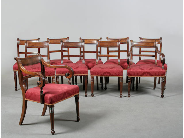 A set of ten Regency mahogany dining chairs circa 1820