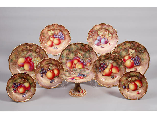A matched Royal Worcester part dessert set