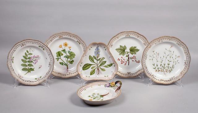 A three Royal Copenhagen Flora Danica dinner plates