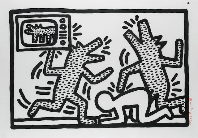 Keith Haring (American, 1958-1990) 'Barking Dogs', 1982