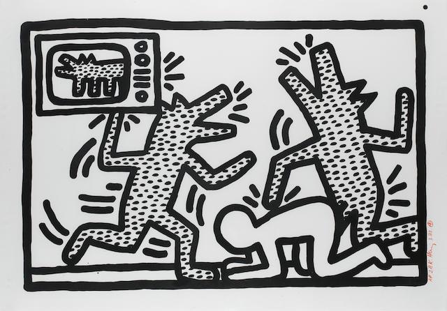 Keith Haring (American, 1958-1990), Barking Dogs